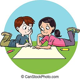 boy and a girl together in front of a paper