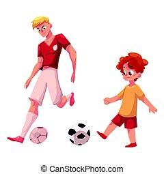 Boy and adult soccer player playing football, choice of profession
