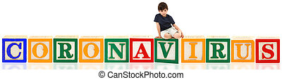 Boy and Alphabet Blocks CORONAVIRUS