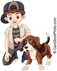 Boy and beagle dog