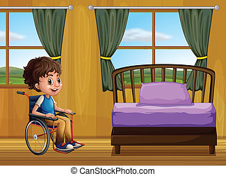 Boy and bedroom - Ilustration of a boy in a bedroom
