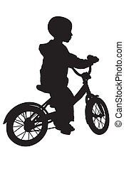 Boy and bicycle silhouette