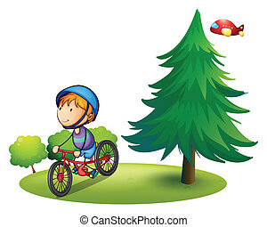 Boy and bike - Illustration of a boy riding a bicycle in a ...