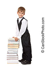 Boy and books. Back to school
