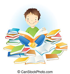 Boy and books. - Little amusing boy and books.
