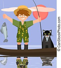 boy and cat fishing from the boat vector cartoon
