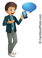 boy and cell phone - illustration of a boy and a cell phone ...