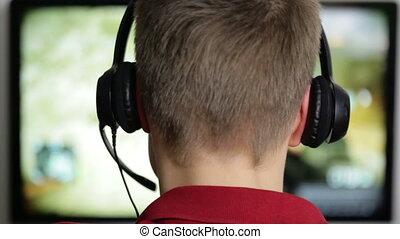 Computer Gaming - Boy and  Computer Gaming