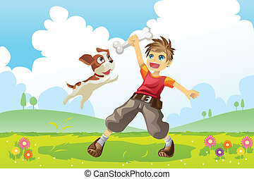 Boy and dog - A vector illustration of a boy and his dog...
