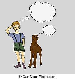 Boy and dog. Doodle. Vector illustration