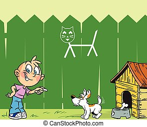 boy and dog - cartoon boy is engaged in training dog in the...