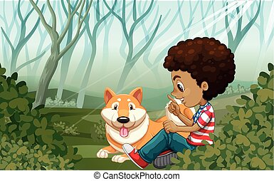 Boy and dog in the park