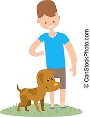 Boy and dog isolated on white background.