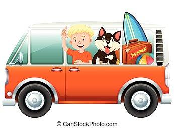Boy and dog on camper van