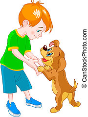 Boy and dog - Red Hair boy playing with cute puppy