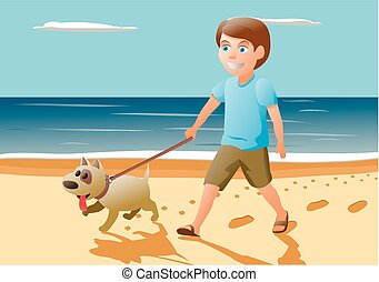 Boy and dog. Red hair boy playing with cute puppy.