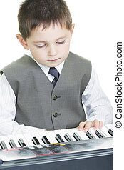 Boy and electric piano