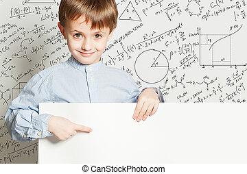 Boy and empty billboard. School concept with math formulas
