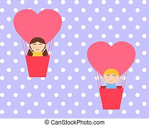 Boy and gerl sitting in hot air balloon in the shape of heart ve