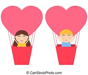 Boy and gerl sitting in hot air balloon in the shape of heart