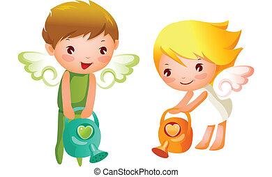 Boy and Girl angels watering