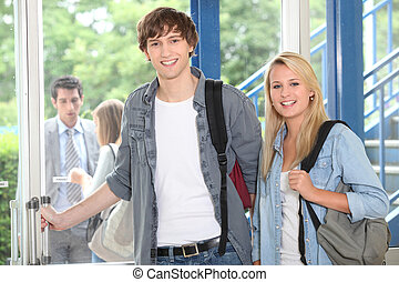boy and girl at school