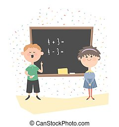 Boy and girl at the blackboard in class.