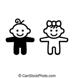 Boy and Girl Baby Icon. Vector