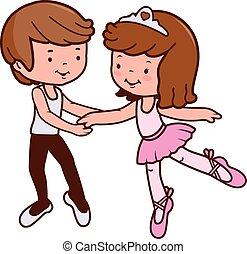 Boy and girl ballet dancers. Vector illustration