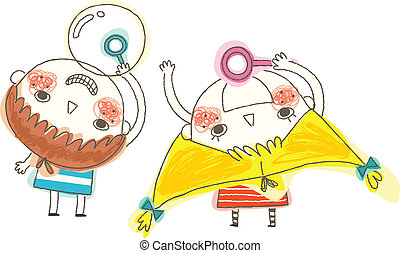 Boy and Girl blowing bubbles - Boy and Girl blowing bubbles...