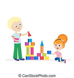Boy and girl build a high tower of colorful cubes. Playing children. Flat character isolated on white background. Vector, illustration EPS10.
