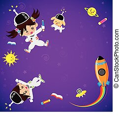 Boy and girl cartoon on the galaxy space