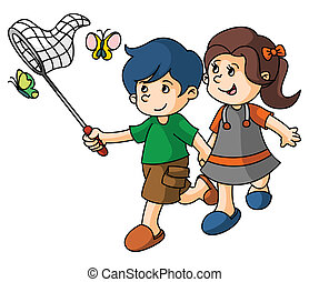 Boy and Girl catch butterfly