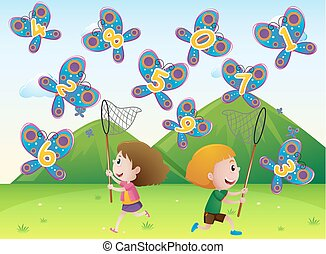 Boy and girl catching butterflies with numbers