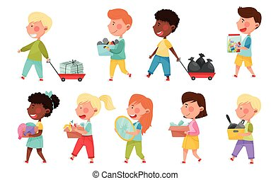 Boy and Girl Characters Carrying Sorted Garbage for Recycling Vector Illustration Set