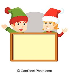 Boy and girl christmas elf with boa
