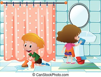 Boy and girl cleaning bathroom