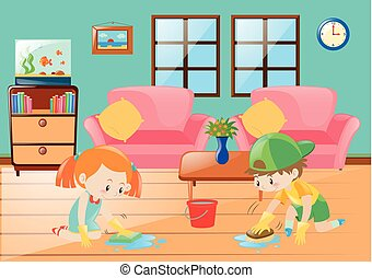 Boy and girl cleaning floor