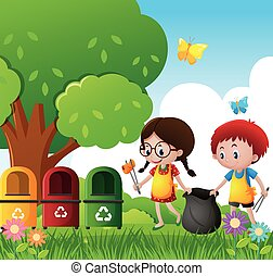 Boy and girl cleaning the park