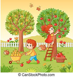 Boy and girl collect fruit harvest.