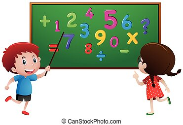 Boy and girl counting numbers on the board