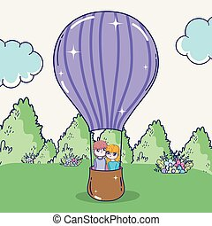 boy and girl couple in the air balloon