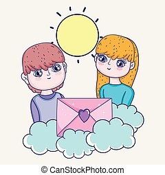 boy and girl couple with love card in the clouds