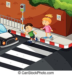 Boy and girl crossing the road