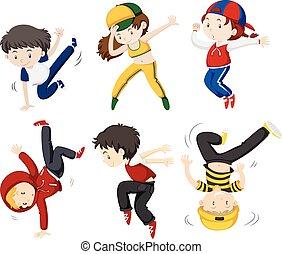 Boy and girl dancing illustration