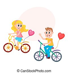 Boy and girl dating, riding bicycles together