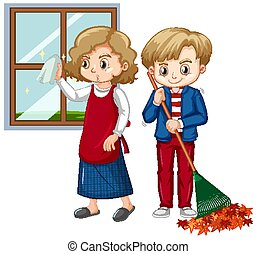 Boy and girl doing different chores at home