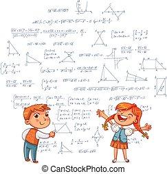 Boy and Girl draw geometric shapes on a school board