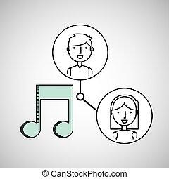 boy and girl draw music social media