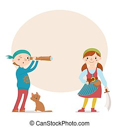 Boy and girl dressed pirates with place for text